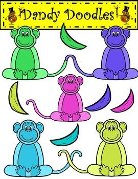 Colorful Monkeys Clip Art by Dandy Doodles