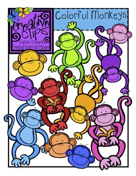 Colorful Monkeys {Creative Clips Digital Clipart}