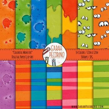 Colorful Monster Digital Paper