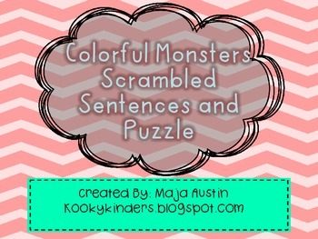 Colorful Monsters Scrambled Sentences and Puzzle