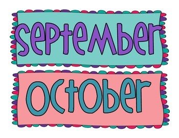 Colorful Month Header