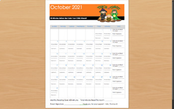 2018-2019 Editable Monthly Reading Calendar/Log - Reading Incentive System!