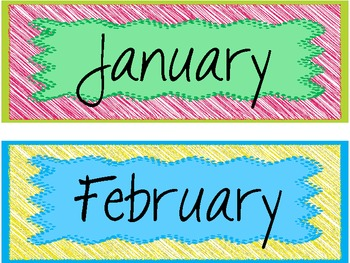 Colorful Months of the Year With Scribble Background