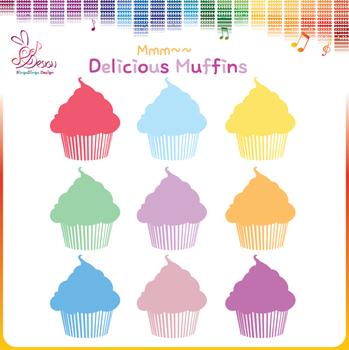 Colorful Muffins Clipart- FREEBIE
