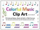 Colorful Music Clip Art - 94 High Resolution Notes, Symbols and Clefs