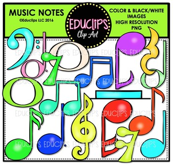Colorful Music Notes Clip Art Bundle