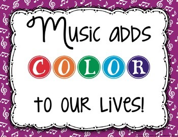 Colorful Music Quote Bulletin Board or Poster Set