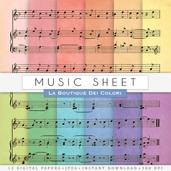 Colorful Music sheet Digital Paper, scrapbook backgrounds