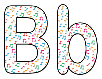 Colorful Musical Notes BB Letters and Numbers