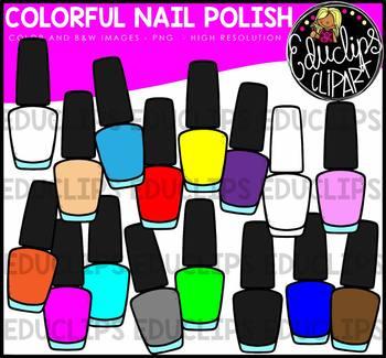 Colorful Nail Polish Clip Art Bundle {Educlips Clipart}