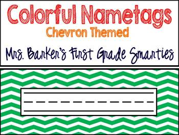 Colorful Name Tags - Chevron Themed
