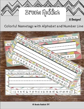 Colorful Nametags with Alphabet and Number Line