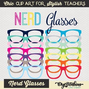 Colorful Nerd Glasses Clipart