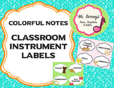 Colorful Note Classroom Instrument Labels