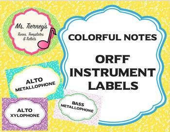 Colorful Note Instrument Label Bundle