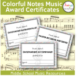 Colorful Notes Music Award Certificates