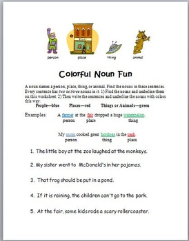 Colorful Noun Fun: Great for Review
