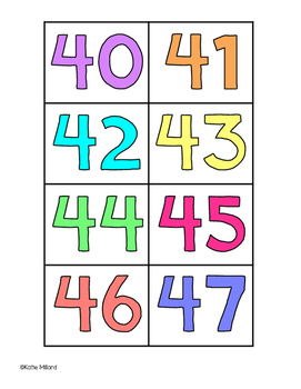 Colorful Number Cards 0-100