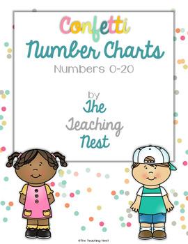 Colorful Number Charts 0-20! - Confetti Design