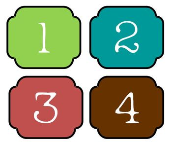 Colorful Number Labels 1-30