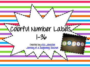 Colorful Number Labels 1-36
