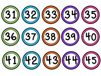 Colorful Number Labels 1-45 {1 inch}
