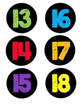Colorful Number Tags #1-25