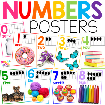 Colorful Numbers 0-20 Posters with Photographs