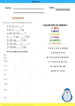 Colorful Numbers Worksheet