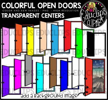 Colorful Open Doors  - Transparent Centers Clip Art Bundle {Educlips Clipart}