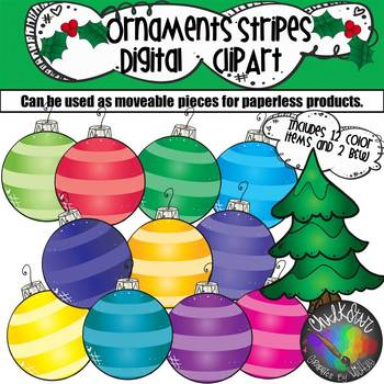 Colorful Ornaments with Stripes Moveable PNG Graphics