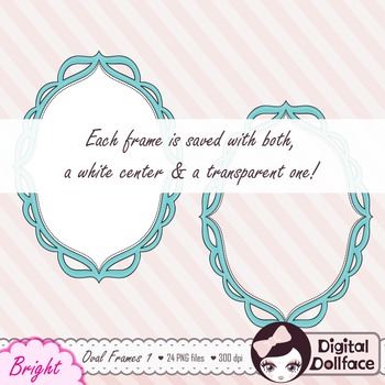 Colorful Oval Frames / Round Doodle Borders Clipart