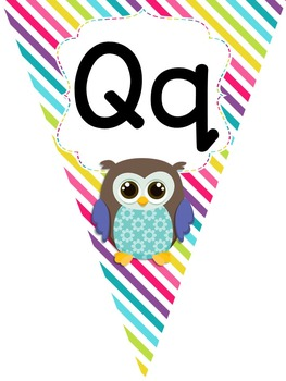 Colorful Owl Theme Alphabet Pennant Banner Letters A-Z