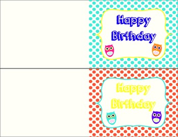 Colorful Owl Birthday and Thank You Cards