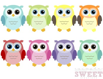 Colorful Owl Clip Art 2