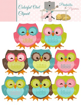 Colorful Owl Clipart By Printables In Pajamas Teachers Pay Teachers