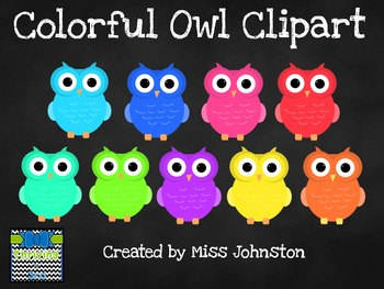 Colorful Owl Clipart {set of 9}