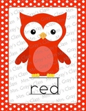 Colorful Owl Color Word Cards