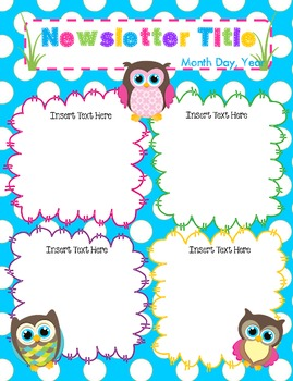 Colorful Owl Theme Editable Newsletter Template