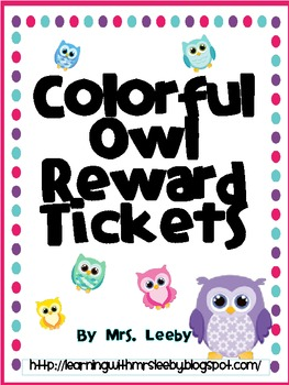 Colorful Owl Reward Tickets