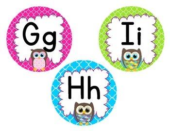 Colorful Owl Theme Alphabet Medallions