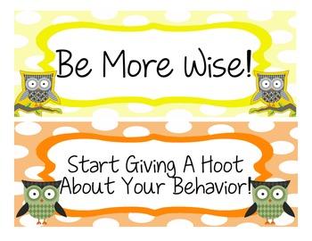 Colorful Owl Theme Behavior Clip Chart