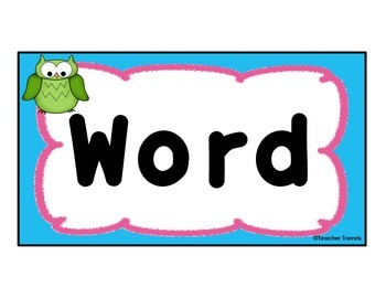 Colorful Owl Themed Classroom Word Wall Letter Cards