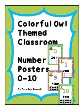 Colorful Owl Themed Classroom Number Posters