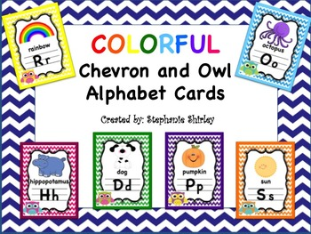 Colorful Owl and Chevron Alphabet Cards
