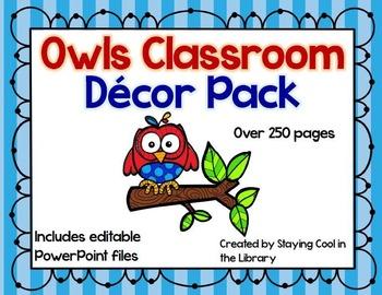 Colorful Owls Classroom Decor Pack