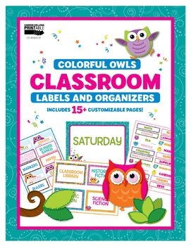 Colorful Owls Classroom Printable Labels and Organizers | 9781483844930