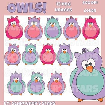Colorful Owls Clip Art: 13 images
