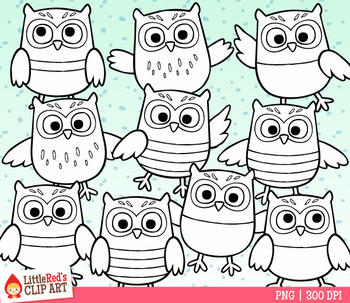 Colorful Owls Clip Art
