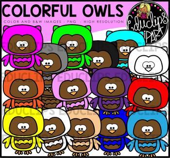Colorful Owls Clip Art Bundle {Educlips Clipart}